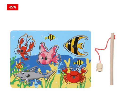 Wooden Magnetic 3D Fishing Game/Jigsaw Puzzle